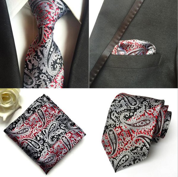 Men Neck Tie Set Paisley Necktie Silk Tie Wedding Accessories British Style Suit Business Tie Hanky Square Scarf Set