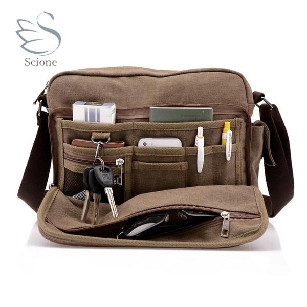 Scione Canvas Multifunction Messenger Shoulder Bag Solid Briefcases Suitcase Card Pocket For Men Women Office Outdoor Travel Bag J190721