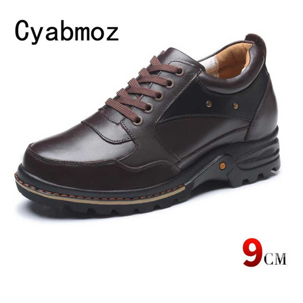 100% Genuine Leather Height Increasing Elevator Shoes with Hidden Insole Elevated Men Taller 9 cm Casual Shoes Sneakers