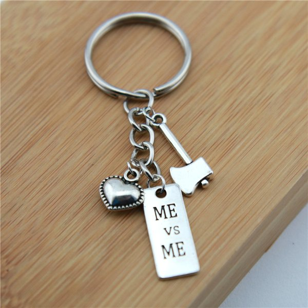 2019 new Letters Key Chain Zinc Alloy Silver Heart Keychain Jewelry I CAN, I CHOOSE STRENGTH Keyring Couple Birthday Day Gifts