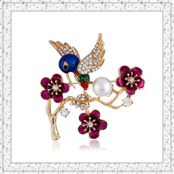 European and American fashion color drip brooch painted bird branch flower brooch Wild retro alloy collar