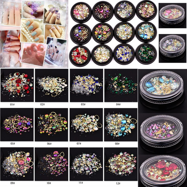best selling 12 Colors Nail Art Decoration Charm Gem Beads Rhinestone Hollow Shell Flake Flatback Rivet Mixed Shiny Glitter 3D DIY Accessories