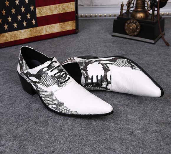 Nouveau Snakeskin Hommes Chaussures De Cuir En Métal Bout Pointu Pour Hommes Chaussures Habillées Ascenseur Chaussures Formelles Chaussures À Lacets Oxford Pour Hommes Oxfords