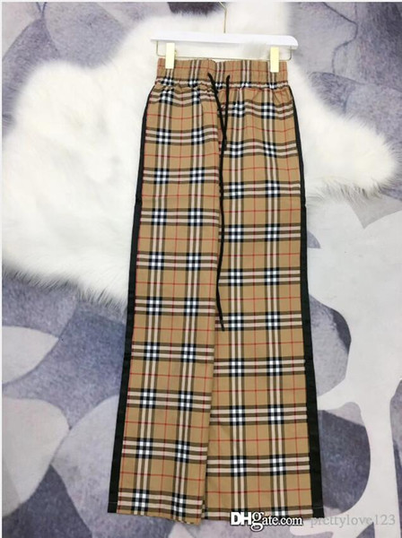 19 summer new star with the same paragraph plaid casual cotton trousers side black ribbon stitching female