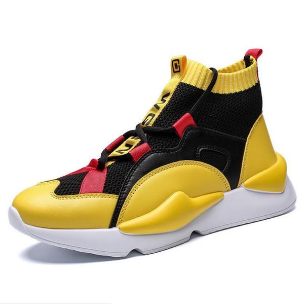 2019 Yeni Y3 Stil Yüksek Üst Erkek Sneakers Üçlü Siyah Gri Sarı Yüksek Kaliteli Çizmeler Eğitmenler Açık Spor Ayakkabı Tasarımcısı Chaussures
