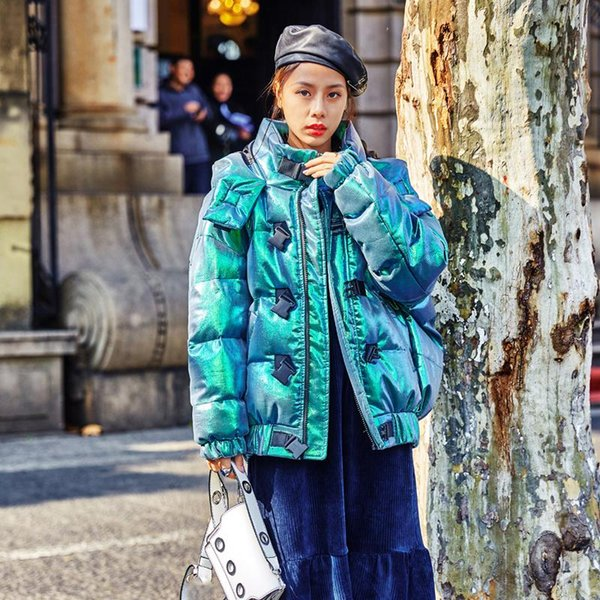 original hooded down cotton padded parks pockets women winter laser green bread short thick glossy fluffy street coat