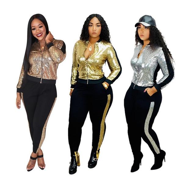 Mode Paillettes Survêtement Spilce Couleur Courir Coats Leggings 2 Set Pieces Femmes Vêtements pour sport et Automne Hiver 52Me E1