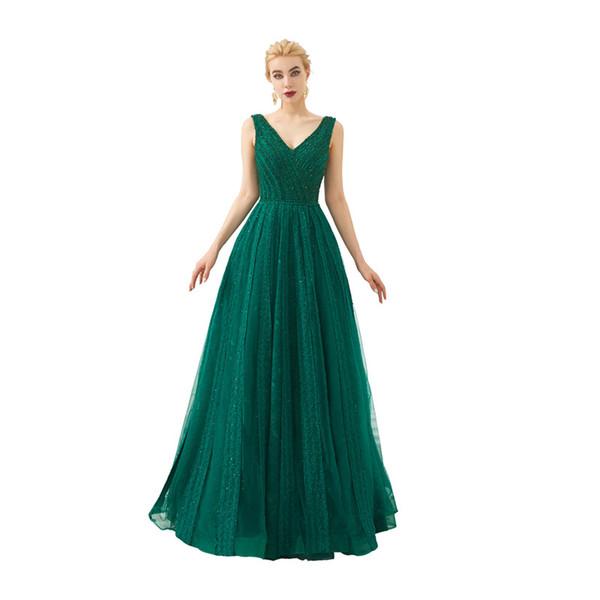 Elegant Tulle V-Neck Backless Evening dresses long Vestido de festa longo Evening gown Vestidos de noche elegantes Serene hill 53340