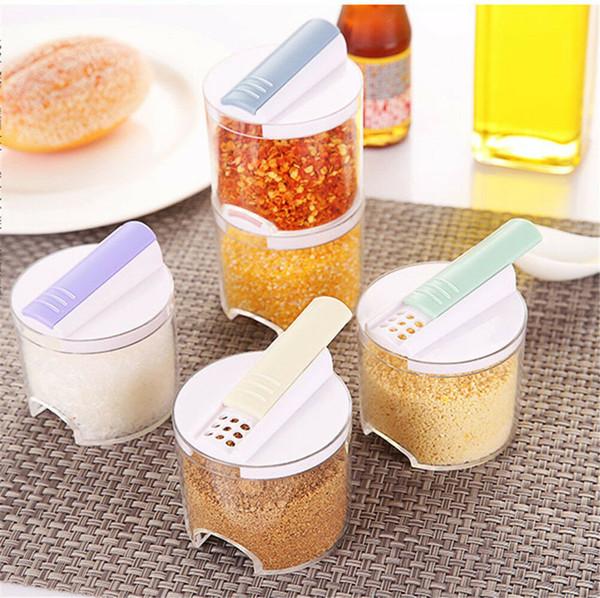 BBQ 5pcs bottiglia di stoccaggio ampolla sale pepe condimento condimenti vasetti cucina scatola di immagazzinaggio barattoli coperchio con foro