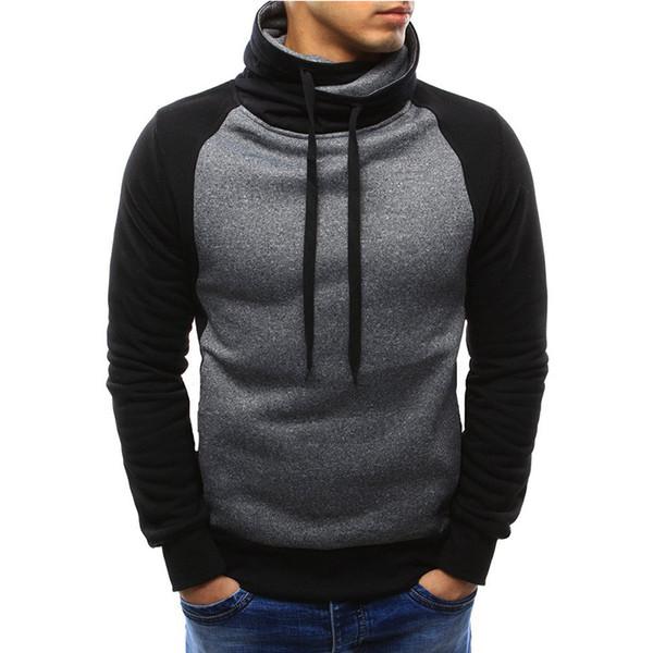 Hoodies ocasionais dos homens 2018 outono moda marca Pullover cor sólida camisola de gola alta Sportswear moletom fatos de treino dos homens Moleton 3XL