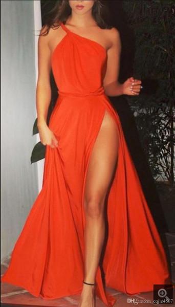 2019 Nueva Moda Naranja Vestidos de baile Ropa de noche Un hombro Pliegues Pierna alta Drapeado gasa Celebrity formal Vestidos de pista Barato 630