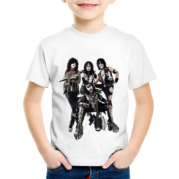 Fashion Print Stormtroopers Fan Kiss Rock Band Children T-shirts Kids Cool Summer Tee Boys/Girls Casual Tops Baby Clothes,HKP464
