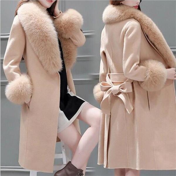 New 2019 Winter Women Woolen Coat Large Fur Collar Female Casual Jacket Long Outerwear Sweet Preppy Trench Blends Wool Coat T191109