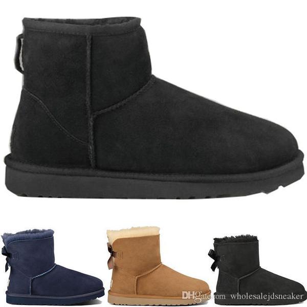 Mens Designer Winter Schnee Stiefel Australien Mode WGG hohe Stiefel U G Leder Bailey Bowknot Frauen s bailey SHORT Bogen Knie Damen Herren Schuhe