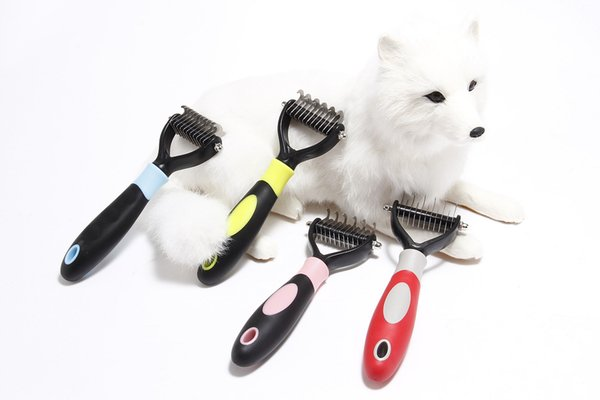 Pet grooming comb tool 2 ided undercoat rake for cat dog afe dematting pet upplie comb hair remover