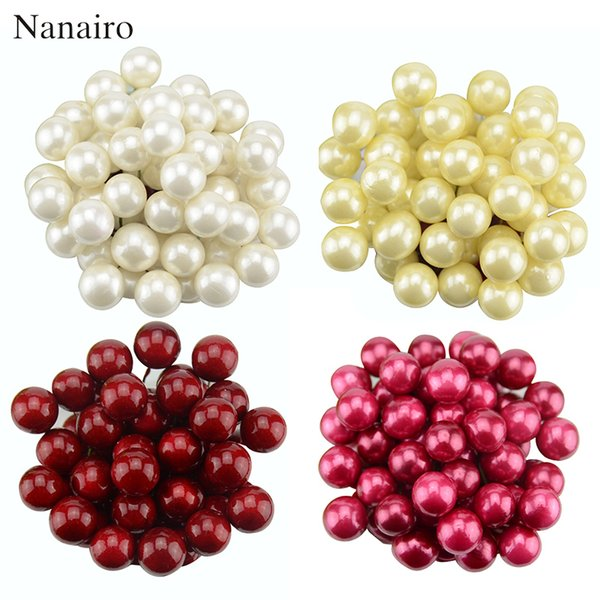 40pcs Mini Simulation Plastic Fruit Small Berries Artificial Flower Red Cherry Fake Pearl Wedding Christmas Tree Decorative D19011101