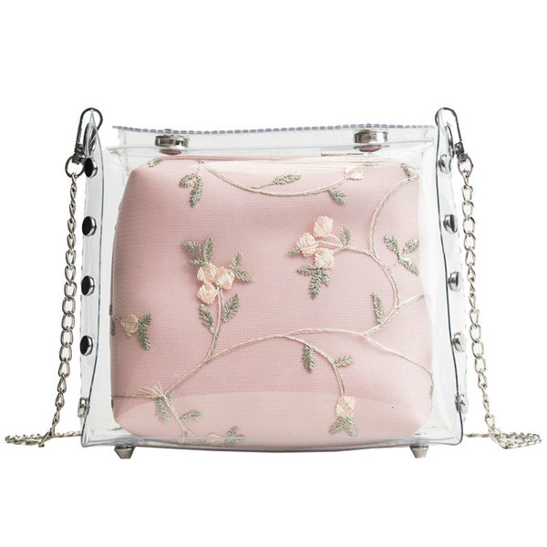 Transparent Jelly Female Bag 2019 New High Quality Pvc Women's Designer Handbag Lady Lace Flower Chain Shoulder Messenger Bags