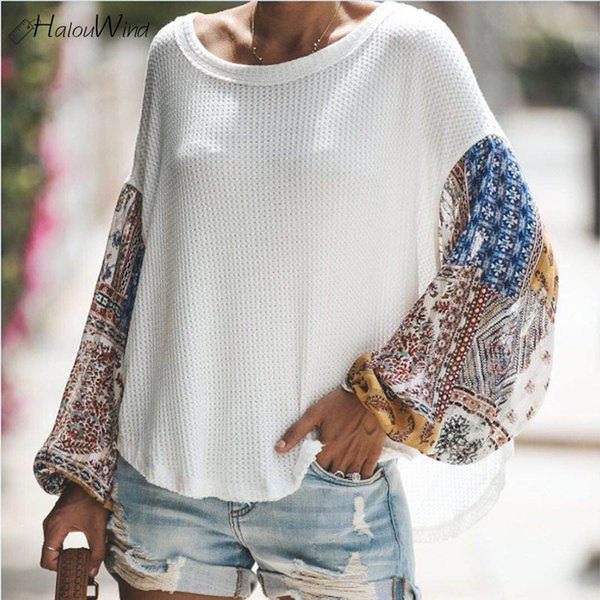 417de557221 Floral Print Lantern Sleeve Chiffon Knitted Patckwork Blouse and Tops  Shirts 2019 Oversized Loose Casual Summer One Shoulder Top