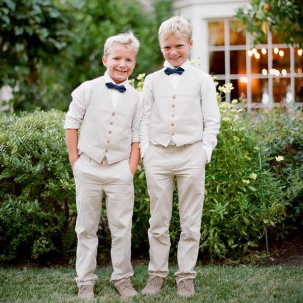 Beige Ring Bearer Boy Abendgarderobe Smoking Kinder Kleidung Für Strand Hochzeit Kinder Suit Boy Set (Weste + Pants + Bow) Nach Maß