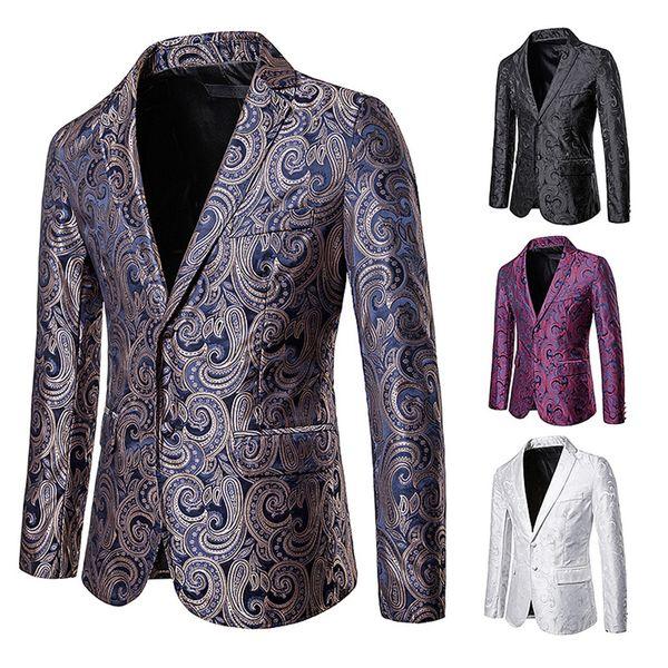 Fashion Men's Autumn Winter Casual Gold Print Button Jackets Long Sleeve Coat Top Formal Wedding Suit Men Casual Slim Fit Blazer