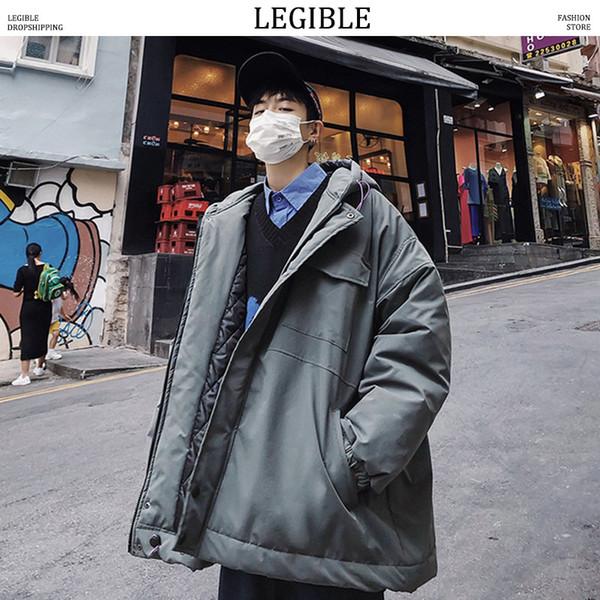 LEGIBLE Hombres Chaquetas de Invierno Abrigos Para Hombre Japonés Streetwear Parka Chaqueta Hombre Hiphop Cazadora Bts Abrigos de Invierno Con Capucha