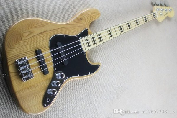 Jazz bass model 4 string electric bayesian ash raw wood colored lute body maple lute neck