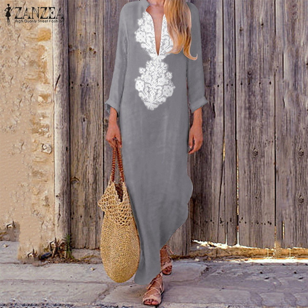 Plus Size Zanzea Women Deep V Neck Long Sleeve Maxi Long Dress Autumn Vintage Paisley Kaftan Cotton Linen Baggy Vestido 2018 Y19012201