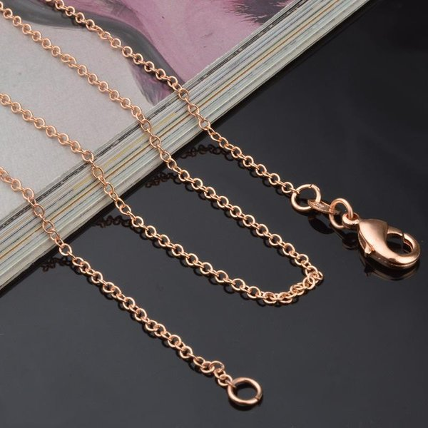 1MM 18K Gold Plated O Chain Necklace 925 Sterling Silver Link Chain Rose Gold Fashion Diy Jewelry 18 20 Inch for Women Men Cheap Wholesale