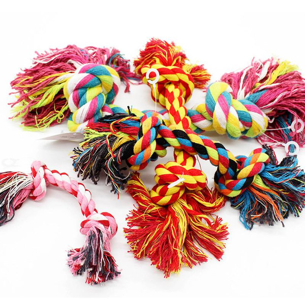 top popular Pets dogs pet supplies Pet Dog Puppy Cotton Chew Knot Toy Durable Braided Bone Rope 15CM Funny Tool (Random Color ) 2021