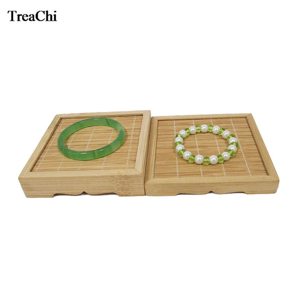 Amazing Natural Bamboo Jewelry Display Case Pormotion Jade Bracelet Bangle Tea Ring Watch Accessory Display Organizer Rack Tray