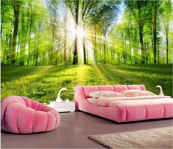 Papier peint 3d personnalisé paysage mural Paysage forestier, chemin bordé d'arbres, lumière du soleil à travers les bois peintures murales papier peint pour murs 3 d