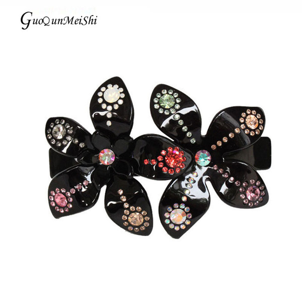 Hair Clips Hair Pin Rhinestone Flower Acetate Hair Accessories Jewelry Barrette Ornament for Women Girls Wedding Party Prom