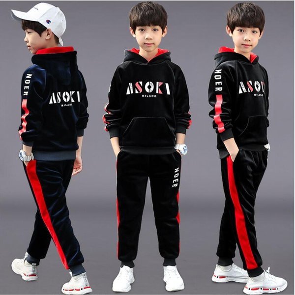 Korean Kids Clothing Fashion Autumn Outfits for Boys Double Velvet Two Piece Sets Hooded Top Pants Velour Children Wear