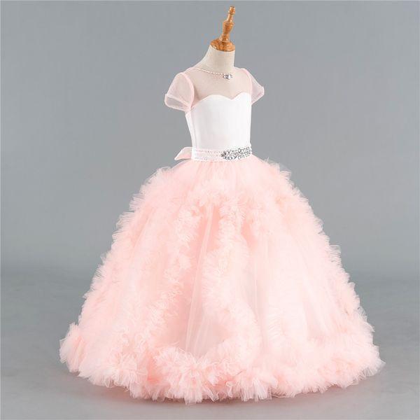 Rosa 2018 Flower Girl Dresses For Weddings Ball Gown Cap Sleeves Tulle Ruffles cristalli primi abiti da comunione per bambine