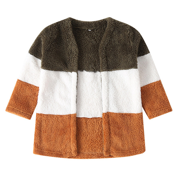 girls boys coat mixed color winter warm long sleeve cardigan outerwear outfits baby clothes - from $30.00