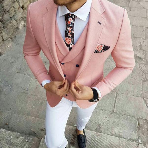 Tialored Pink Coat White Pants Men Suits for Wedding Groom Tuxedos Business Men Blazers Groomsmen Wear Smoking Jacket 3Piece Costume Homme