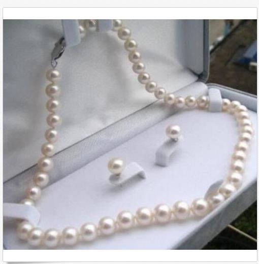 7-8mm Real Natural White Akoya Cultured Pearl Necklace Earrings Jewelry Set gift