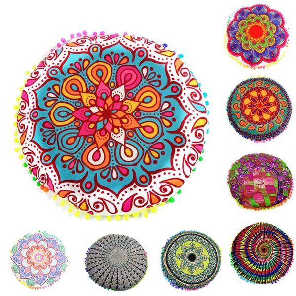 Compre Nuevo Diseño Multicolor Mandala India Flor Azul Almohadas De Piso Cojín Bohemio Redondo Cojines Funda De Almohada Funda De Almohada #XT A