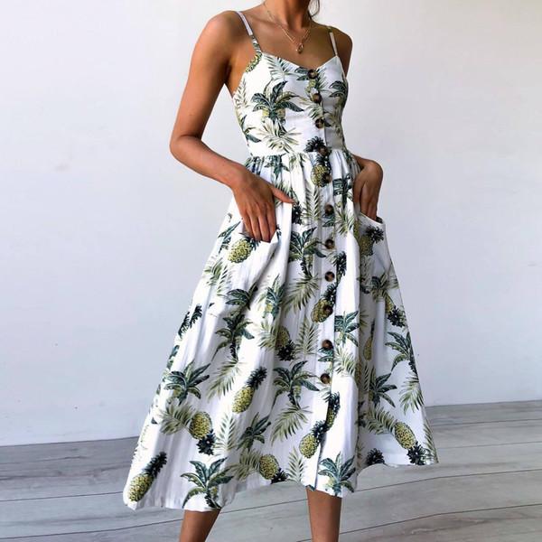 Boho Floral Print Summer Dress Women V Neck Pockets Sleeveless Midi Dresses Female Sunflower Pleated Backless Button Sexy Dress C19011001