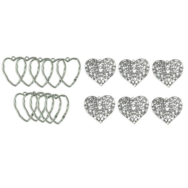 16 pcs tibétain argent extra-large en filigrane coeur charmes pendentifs en alliage de zinc, deux formes différentes