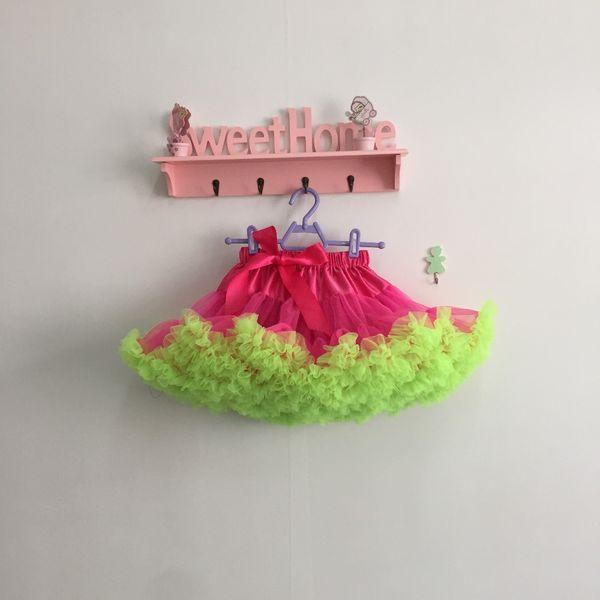 Mullido niños tul tutú falda caliente falda tutú verde rosa para las niñas 0T-10T
