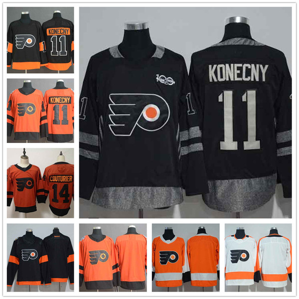 Philadelphia Flyers 11 Travis Konecny Black Alternate NHL Jerseys 14 Sean Couturier Blank Orange 2019 Stadium Series Hockey Jersey