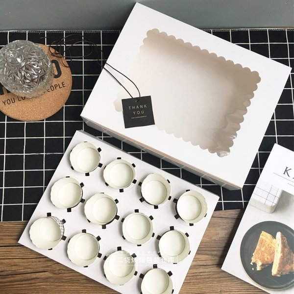 5 pcs cupcake box with window White Brown kraft paper Boxes Dessert Mousse box 12 Cup Cake Holders wholesalers Customized