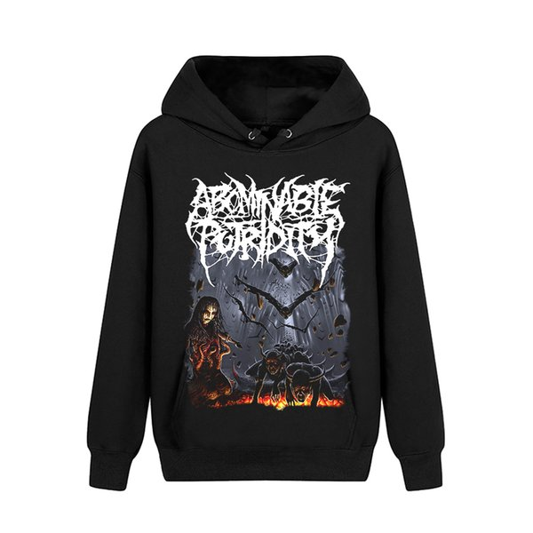 3 designs Pollover Sweatshirt Abominable Putridity Rock black hoodies punk heavy metal sudadera fleece Outerwear shell jacket