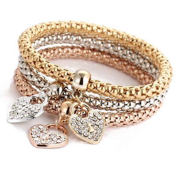 Bracelets Sets 3Pcs/Set Mosaic Cubic Zirconia Key Lock Elastic Charm Bracelets For Women Gold Color Creative Popcorn Corn Chain Jewelry