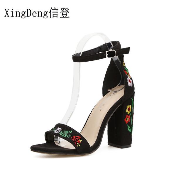 XingDeng Kızlar Seksi Baskılı Anında Çiçek Siparişi Askı Parti Düğün Elbise Ayakkabı Kadın Nakış Kalın Topuklu Yüksek Topuklu Sandalet Ayakkabı