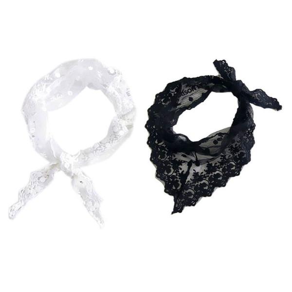 Sciarpa da donna con collo a triangolo in pizzo floreale ricamato all'uncinetto Tinta unita Polka Dot Bandana Fazzoletto per capelli Cravatta da polso vintage