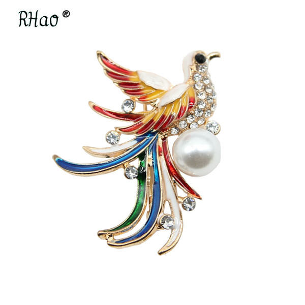 2019 RHao Multi Color Enamel Phoenix Bird Of Wonder Brooches Pins For Women  Men Suit Shirt Coat Corsage Flying Bird Clothes Pins Gift From Playnice,