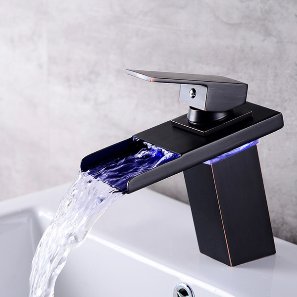 LED Sensor Color Change Bathroom Faucet Black Chrome Basin Mixer Waterfall Spout Cold and Hot Water single Hand