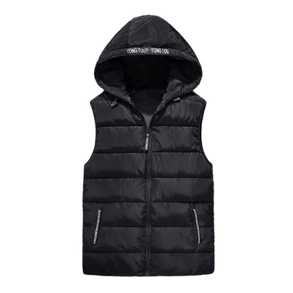 Autumn winter vest Men 2019 new fashion hooded sleeveless down cotton jacket Parka thick red Keep warm Padded vests male